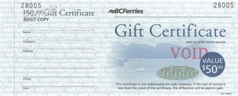 Bc Ferries Gift Card - gift certificates hospitality west printing promotional products for the