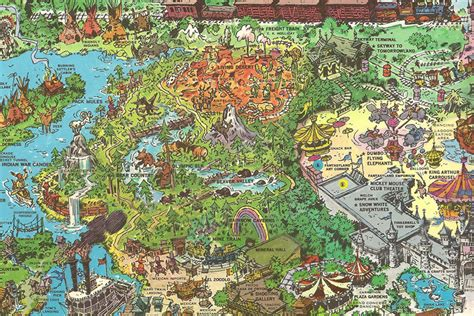 disneyland decorative border puzzle map imagineering disney
