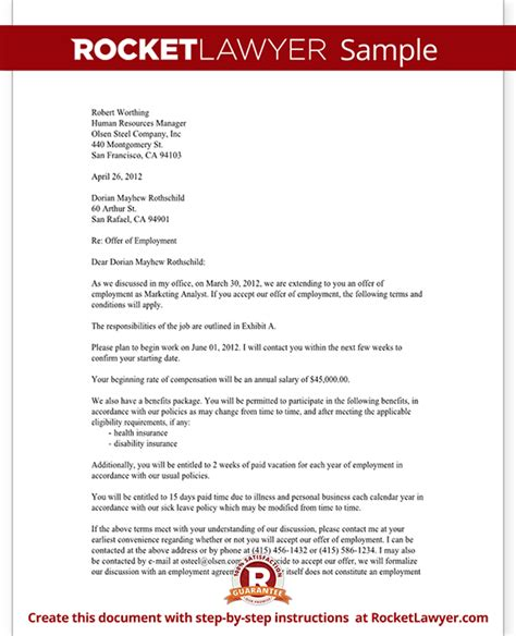 job offer letter employment offer letter template