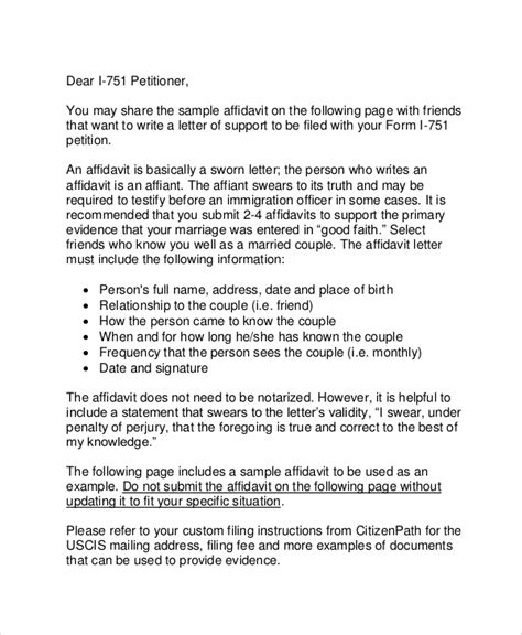 Affidavit Template For Immigration 10 Affidavit Sles Sle Templates