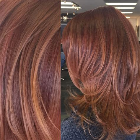 what color highlights to use to get salt and pepper red and copper toned balayage highlights hair by carley