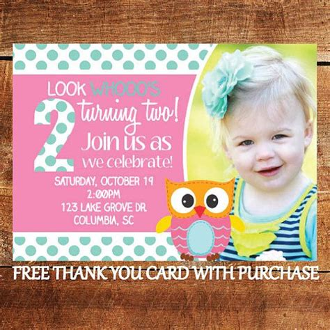 birthday invitation card free 2 printable owl birthday invitation look who s turning two invite with free thank you card