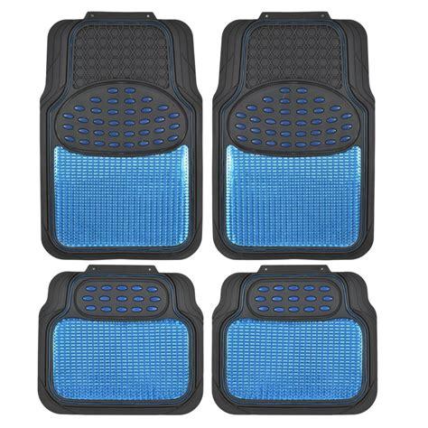 Car Rubber Floor Mats Blue Metallic Design  Black Heavy