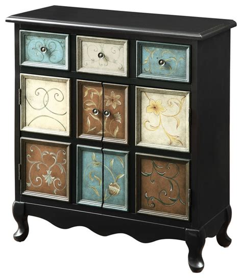 distressed black multi color apothecary bombay chest