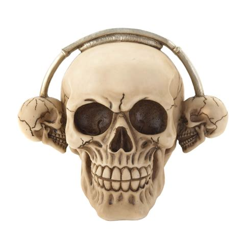 skull home decor rockin headphone skull figurine wholesale at koehler home