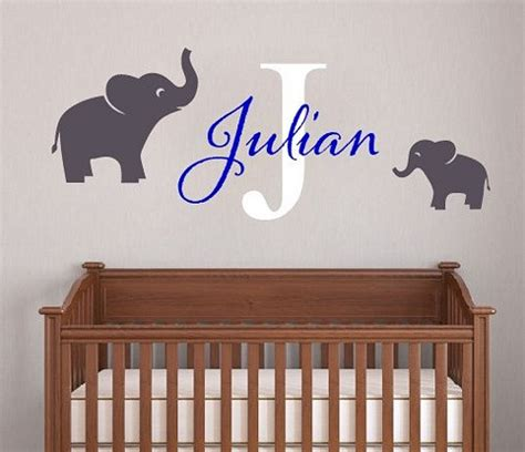 Baby Boy Name Vinyl Wall Decal Boys Elephant Initial Wall Decals Nursery Boy