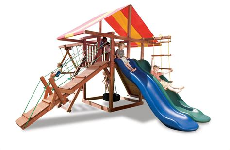 redwood swing sets wholesale big top backyard playground set for kids with 2 slides