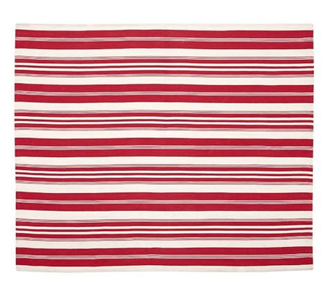 Oxford Stripe Recycled Yarn Indoor Outdoor Rug Red Pottery Barn Striped Rug