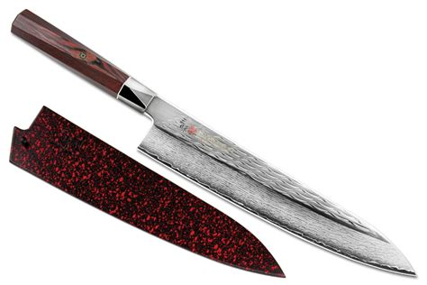 mcusta kitchen knives mcusta zanmai ripple damascus chef s knife with saya 9 5