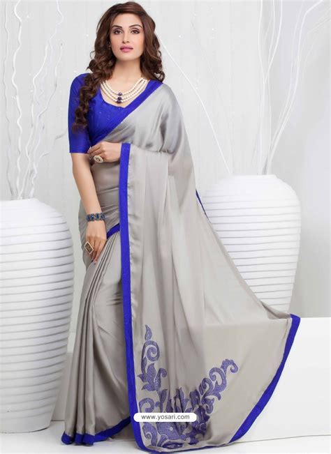 buy grey and blue georgette party wear saree sari