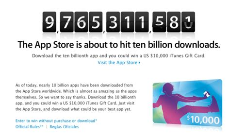 Gift Cards For Downloading Apps - download the 10 billionth app maybe win 10k itunes gift card cult of mac