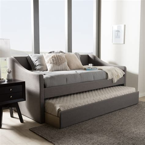 upholstered trundle bed baxton studio barnstorm modern and contemporary grey