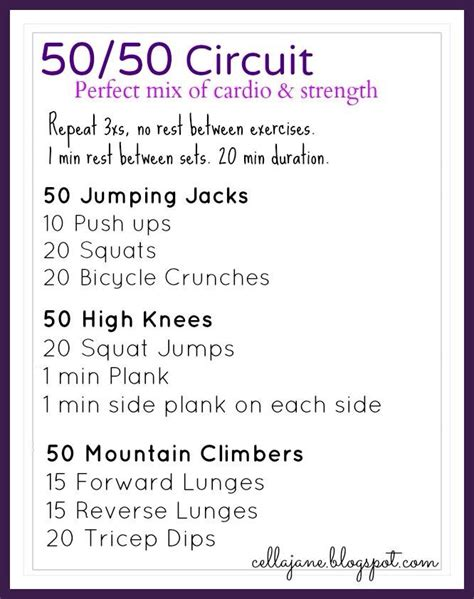 50 50 circuit workout ideas