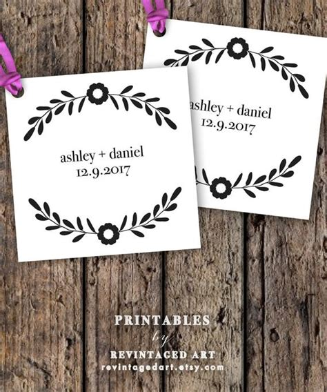 Printable Wedding Favor Tag Template Editable By Revintagedart Wedding Tags Template