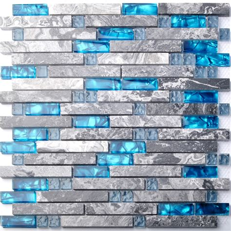 sea blue glass mosaic tile kitchen backsplash grey marble
