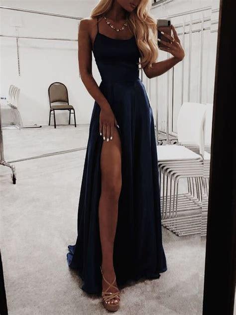 navy blue prom dresses satin fashion dress cheap