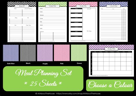printable planner chart printable meal planner allaboutthehouse printables