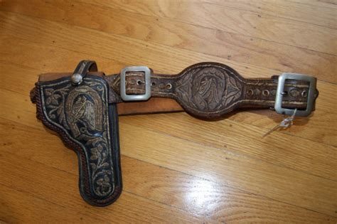 antique mexican charro piteado gun holster gold wire silver