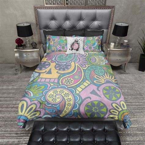 trippy bed sheets psychedelic sugar skull duvet bedding sets ink and rags