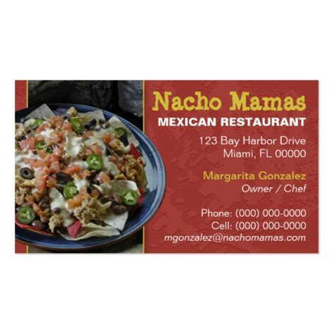 How To Use A Restaurant Com Gift Card - mexican restaurant business card zazzle