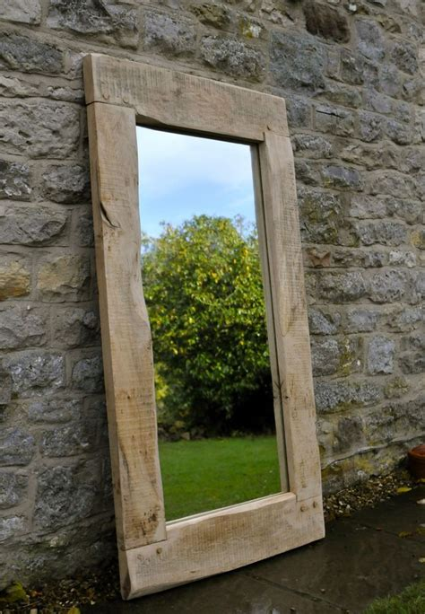 Handcrafted Wooden Mirrors - large mirror handmade oak frame traditional rustic
