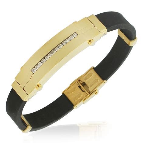 Pu02 Rubber Black List Gold edforce stainless steel yellow gold tone black rubber cz