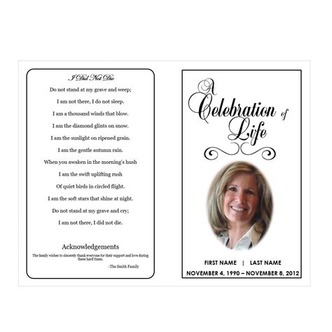 obituary program template free printable obituary templates template idea
