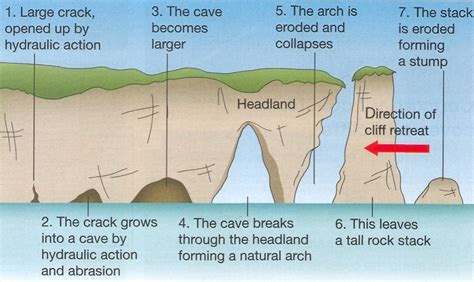 caves arches stacks and stumps diagram geography physical landscapes and processes