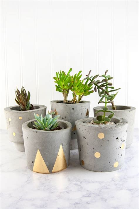 home design gold tutorial make concrete and gold diy plant pots