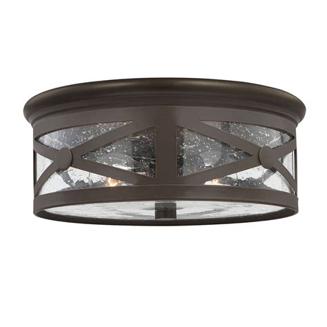 flush mount ceiling light seeded glass lakeview antique bronze two light outdoor ceiling flush