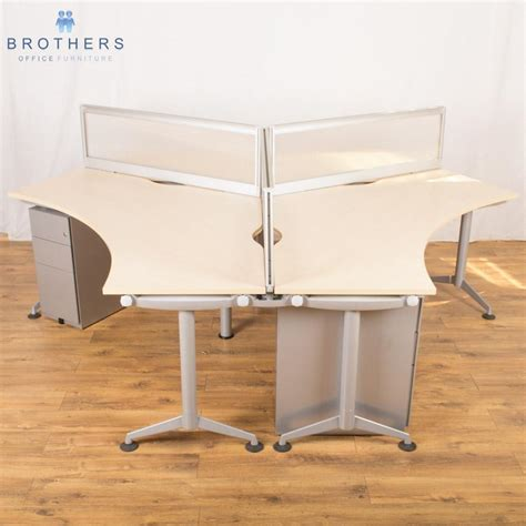 used corner workstations crescent desks brothers