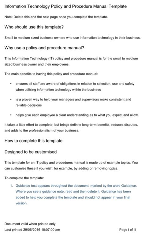 information technology procedure template policy and procedures manual for free formtemplate