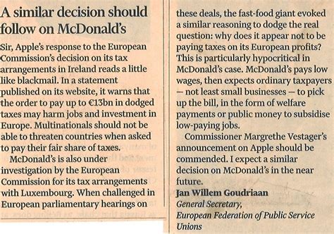 Financial Times Letter Tsipras Letter To The Financial Times After Apple Mcdonald S Must Pay What It Owes In Taxes Epsu