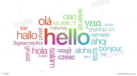 Language Of hello in different languages stock animation 1117681