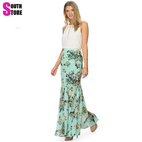 new 2017 summer package hip floral printed chiffon pencil skirt trumpet high waist