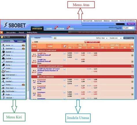 menu utama tampilan sbobet panduan sbobet dibawah   penjelasan  ketiga bagian