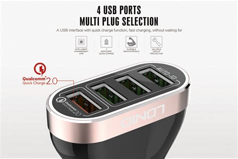 Ldnio Car Charger C701q 4 Port Fast Charging 9v ldnio c701q qualcomm charge qc 2 0 4 port 7a