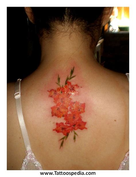 flower tattoo back of neck ohm and flower back neck tattoos real photo pictures
