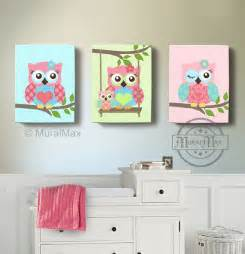 Owl Nursery Decor Room Decor Owl Canvas Baby Nursery Owl By Muralmax
