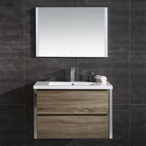 Ove Bathroom Vanities Shop Ove Decors Theo Walnut Integrated Single Sink Bathroom Vanity With Solid Surface Top
