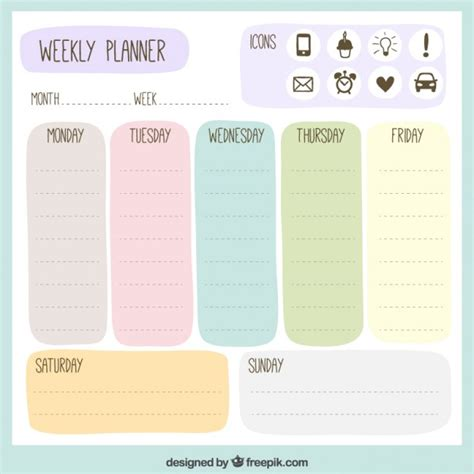 daily planner template illustrator planificador semanal de colores descargar vectores gratis
