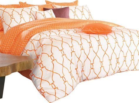 bedding cover sets reversible sateen orange white duvet cover set king