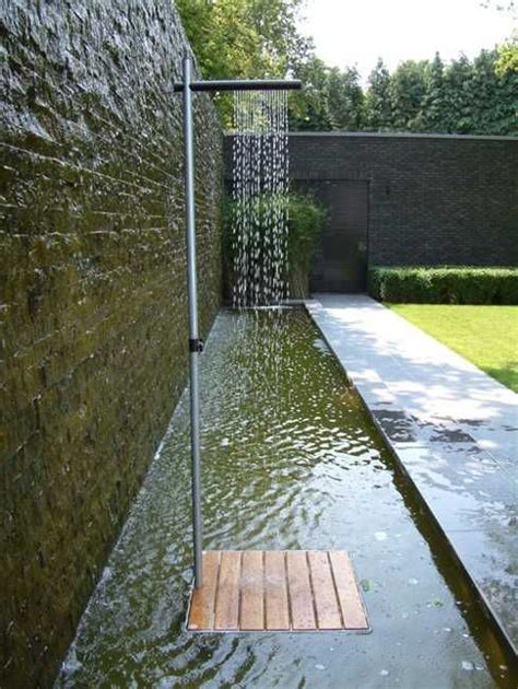 water outdoor shower cascase outdoor shower in minimalist style