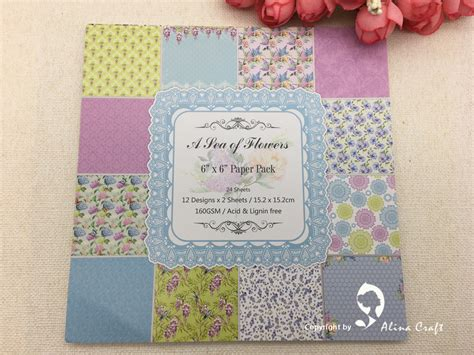 patterned craft paper aliexpress buy 24 sheet 6 quot x6 quot sea flowers patterned