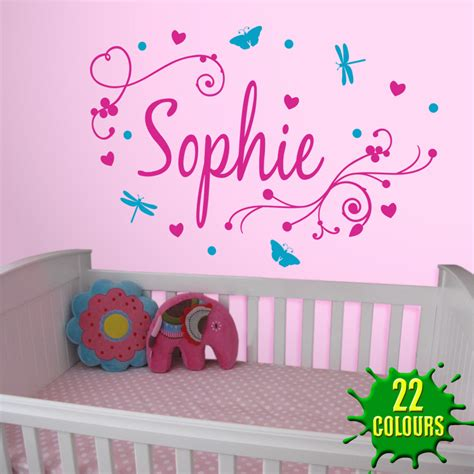 Name Wall Stickers Girl S Swirly Personalised Name Wall Stickers Amp Decals