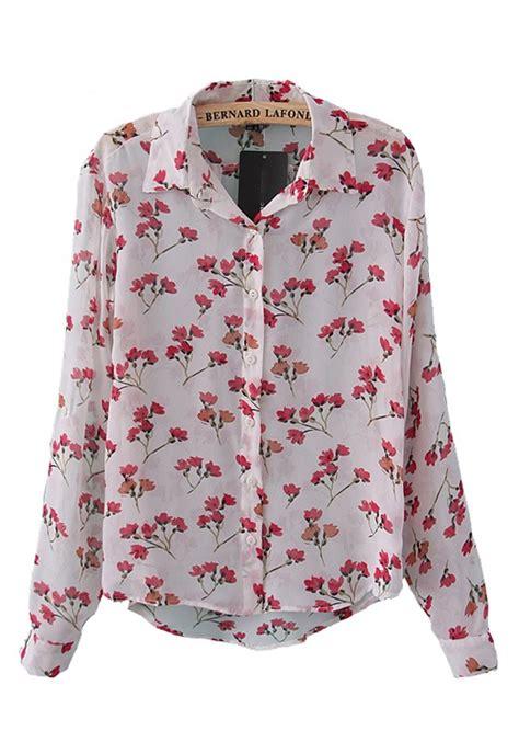 Flower Blouse multicolor floral print lapel sleeve chiffon blouse blouses tops