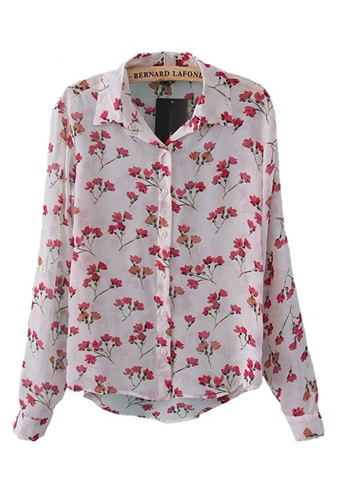 Floral Print Sleeve Blouse multicolor floral print lapel sleeve chiffon blouse