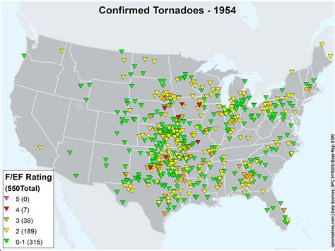 tornado map us tornadoes map1954 u s tornadoes