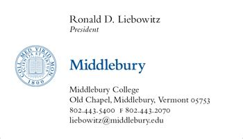 stationery business cards middlebury
