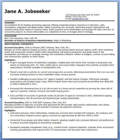 sample resume account executive advertising resume